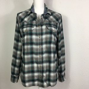 Jachs Girlfriend S Gray Plaid Flannel Snap Shirt